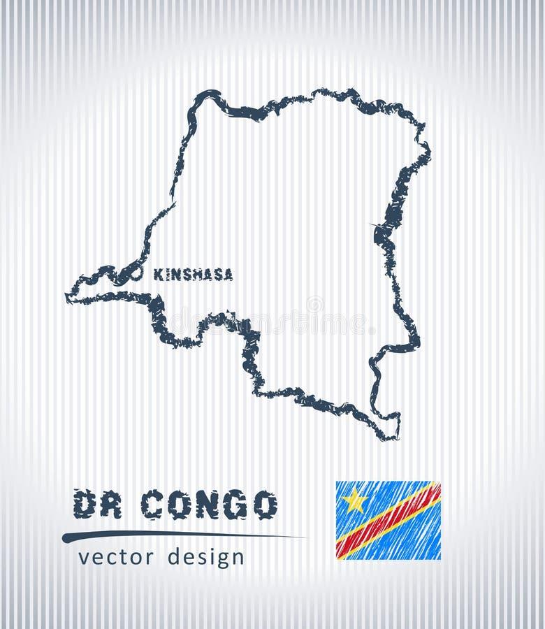 Mapa nacional del dibujo del vector del dr Congo en el fondo blanco ilustración del vector