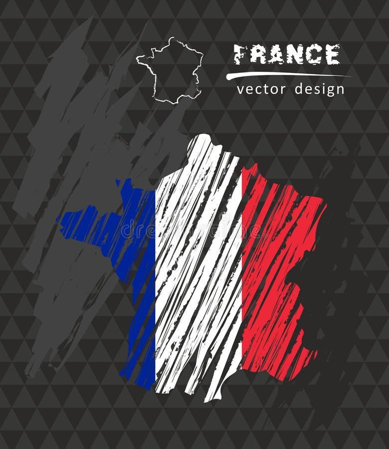 Mapa nacional del vector de Francia con la bandera de la tiza del bosquejo Ejemplo dibujado mano de la tiza del bosquejo stock de ilustración