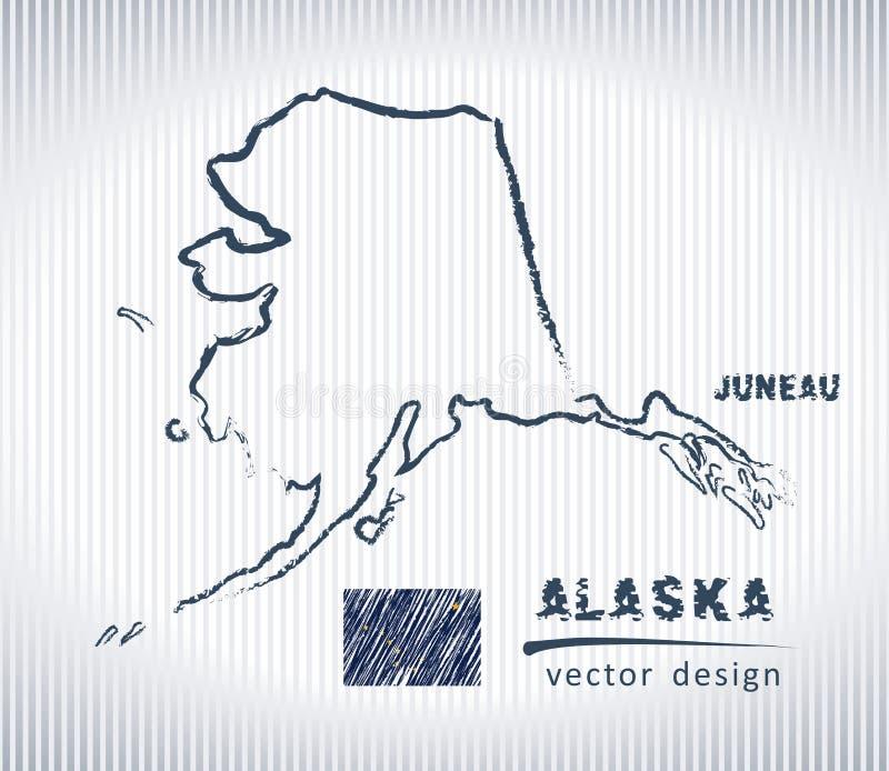Mapa nacional do desenho do vetor de Alaska no fundo branco ilustração stock