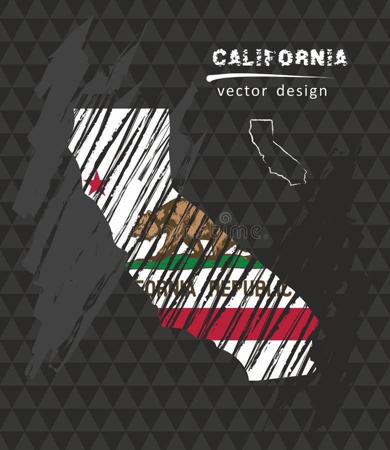 Mapa nacional do vetor de Califórnia com a bandeira do giz do esboço Ilustração tirada mão do giz do esboço ilustração stock