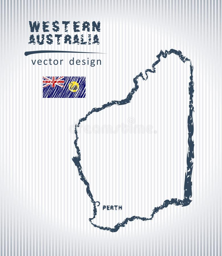 Mapa nacional occidental del dibujo del vector de Australia en el fondo blanco stock de ilustración