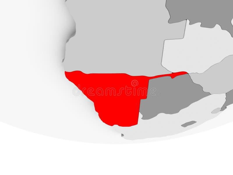 Mapa Namibia na popielatej politycznej kuli ziemskiej royalty ilustracja