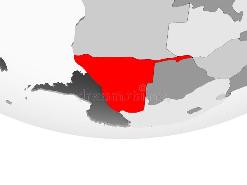 Mapa Namibia na popielatej politycznej kuli ziemskiej ilustracji