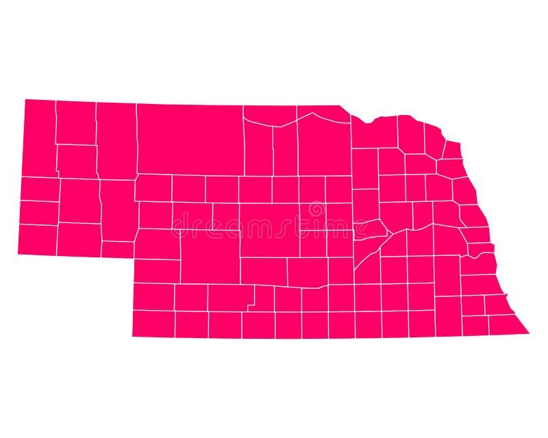 Mapa Nebraska royalty ilustracja