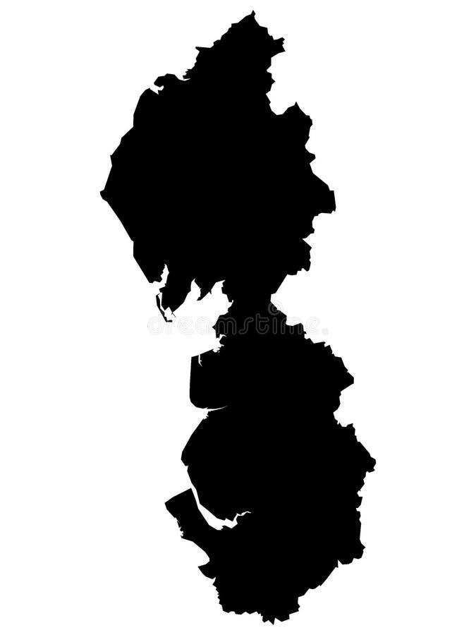 Mapa negro de la región inglesa de Inglaterra del noroeste ilustración del vector