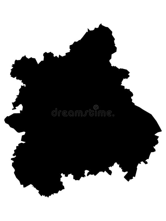 Mapa negro de la región inglesa de West Midlands ilustración del vector