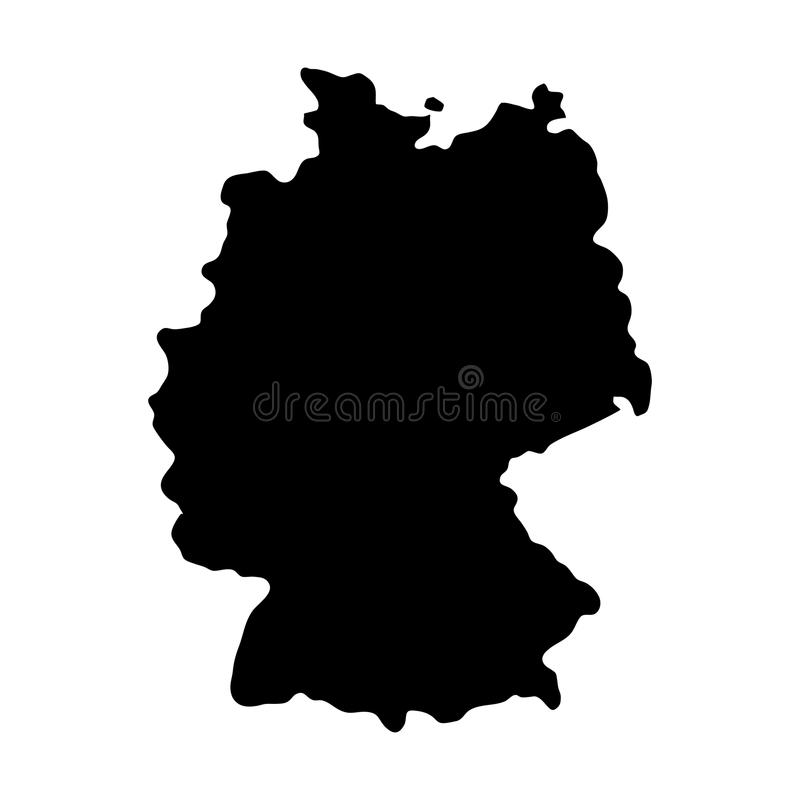 Mapa negro de las fronteras del país de la silueta de Alemania en el backgro blanco ilustración del vector