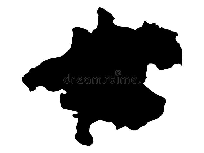Mapa negro del estado austríaco de Austria septentrional libre illustration