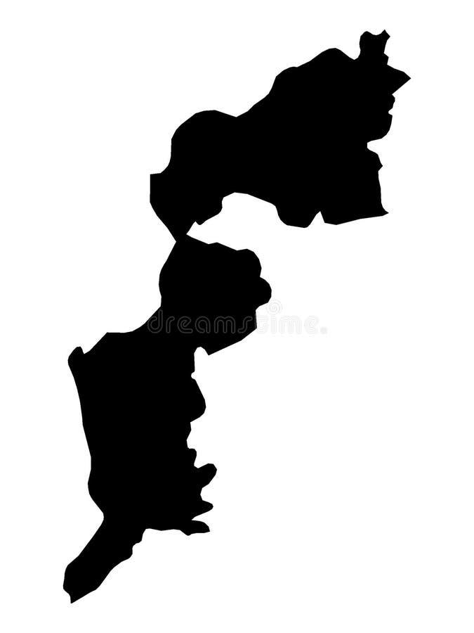 Mapa negro del estado austríaco de Burgenland stock de ilustración