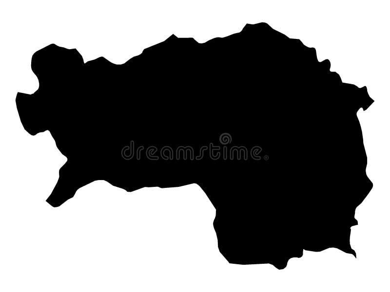 Mapa negro del estado austríaco de Estiria libre illustration