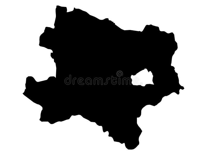 Mapa negro del estado austríaco de una Austria más baja ilustración del vector