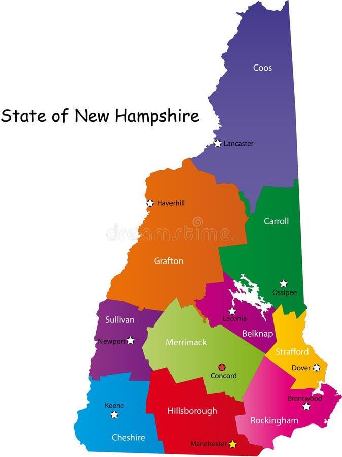Mapa New Hampshire stan royalty ilustracja