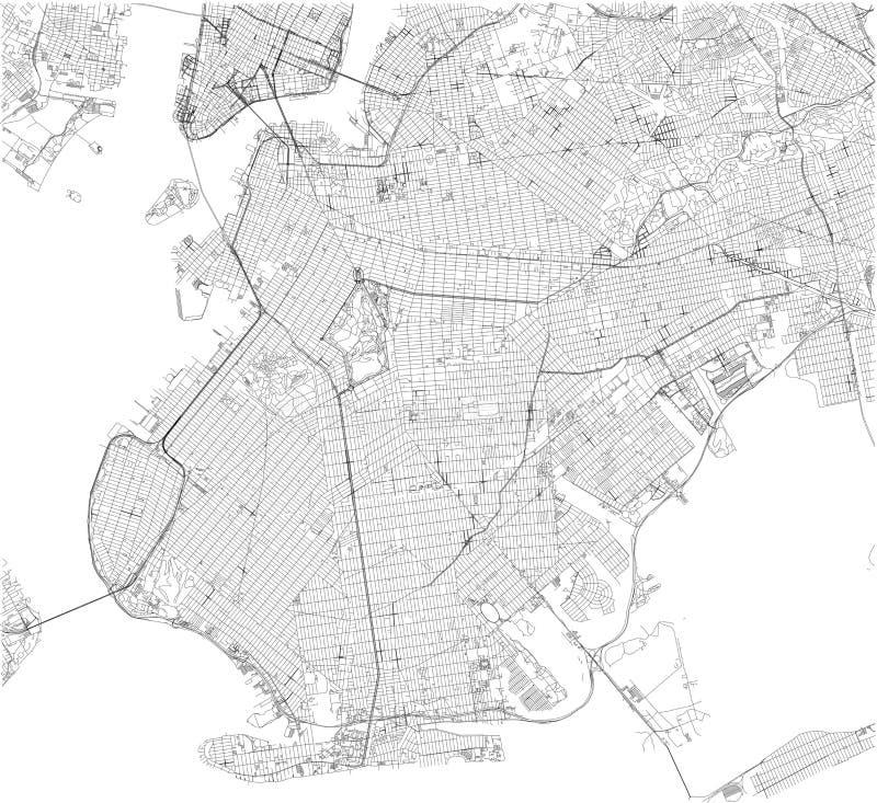 Mapa, New York City, ruas e distrito de Brooklyn EUA ilustração do vetor
