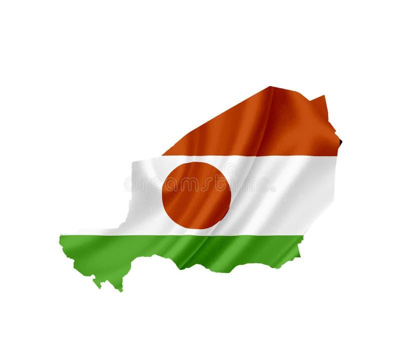 Mapa Niger z falowanie flag? odizolowywaj?c? na bielu fotografia royalty free