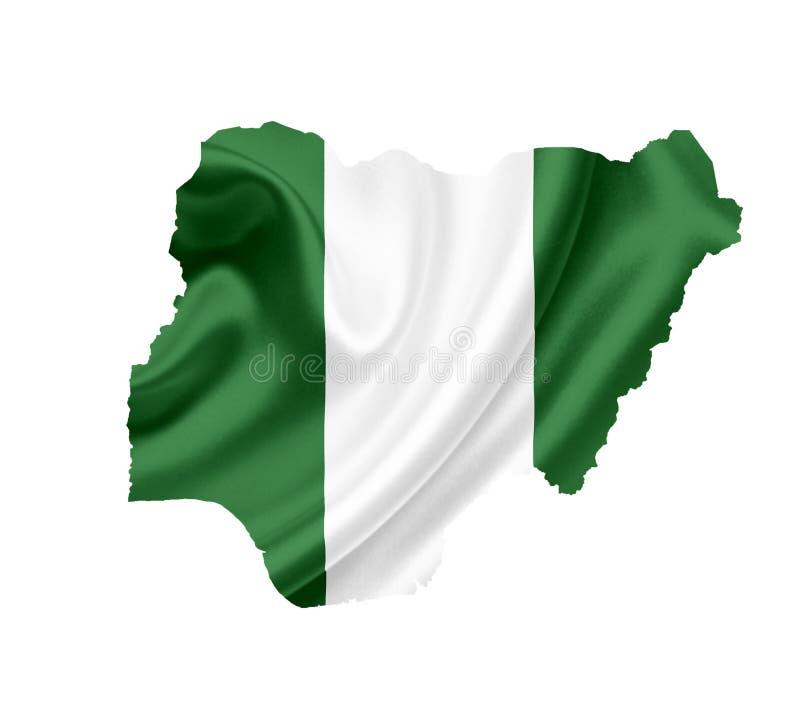 Mapa Nigeria z falowanie flag? odizolowywaj?c? na bielu zdjęcie stock