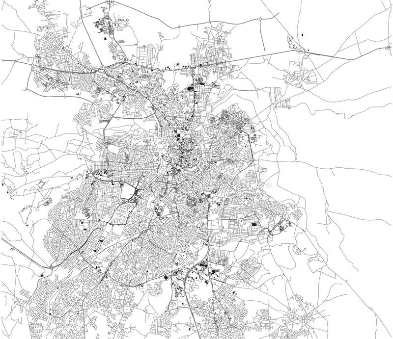 Mapa Nikozja i Strovolos, satelitarny widok, miasto, Cypr royalty ilustracja