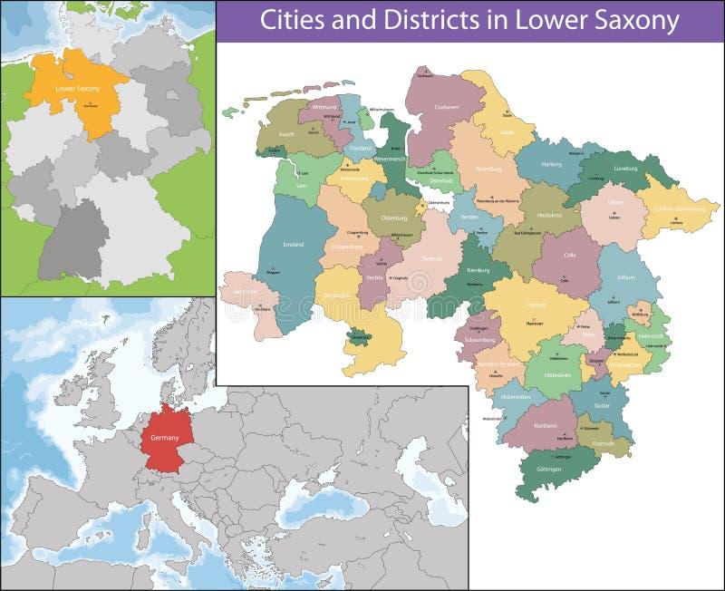 Mapa Niski Saxony ilustracji