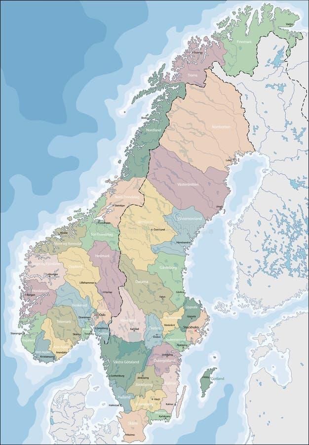 Mapa Norwegia i Szwecja royalty ilustracja