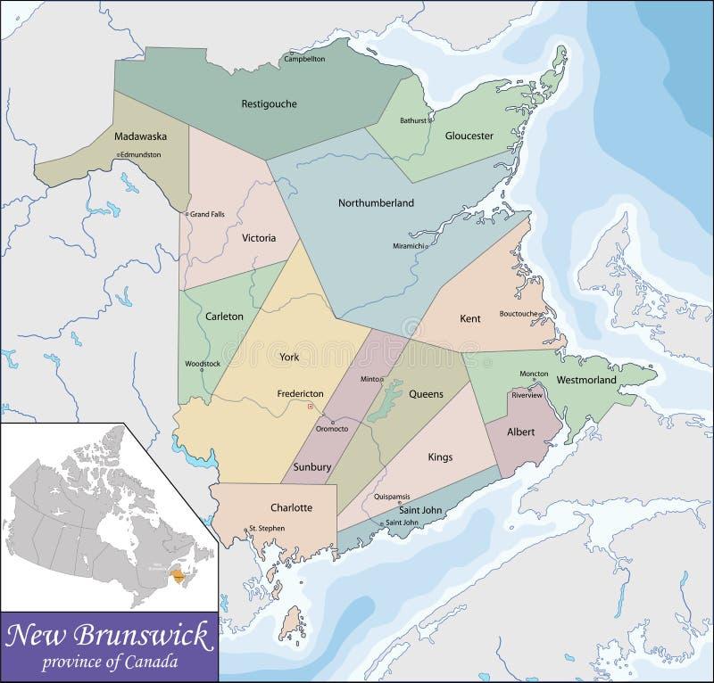 Mapa Nowy Brunswick ilustracja wektor