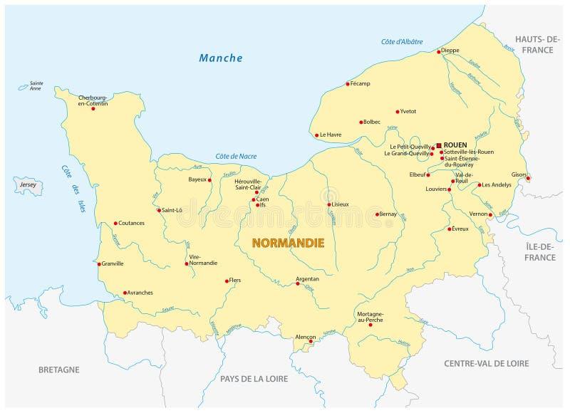 Mapa nowy Francuski region Normandy w Francuskim języku ilustracji