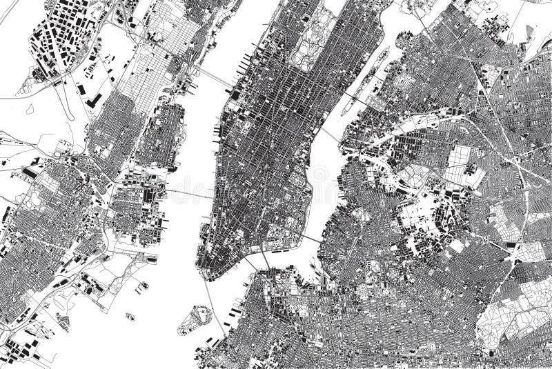 Mapa Nowy Jork, satelitarny widok, Stany Zjednoczone, sąsiedztwa z ulicami i budynkiem ilustracji
