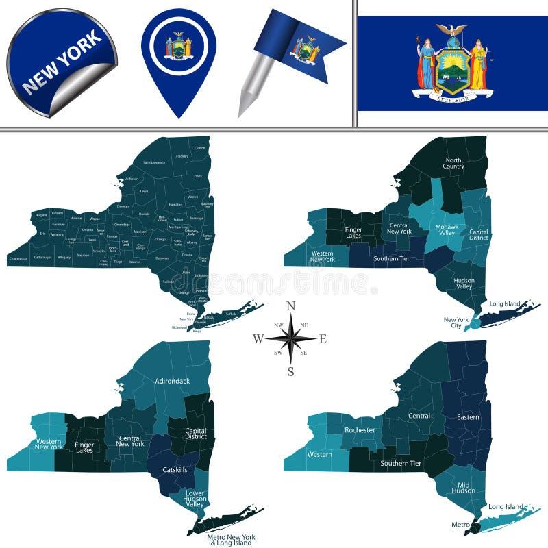 Mapa Nowy Jork z regionami ilustracja wektor