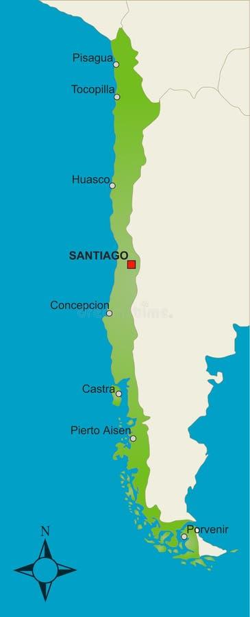 Mapa o Chile ilustração do vetor