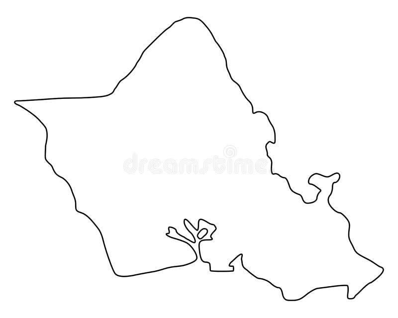 Mapa Oahu ilustracji