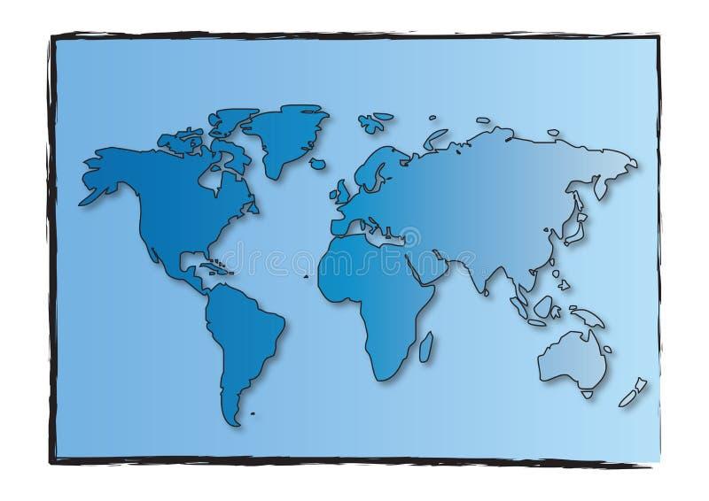 mapa obramiający świat ilustracji