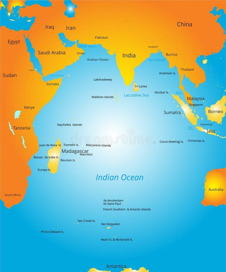 mapa oceanu indyjskiego region ilustracja wektor