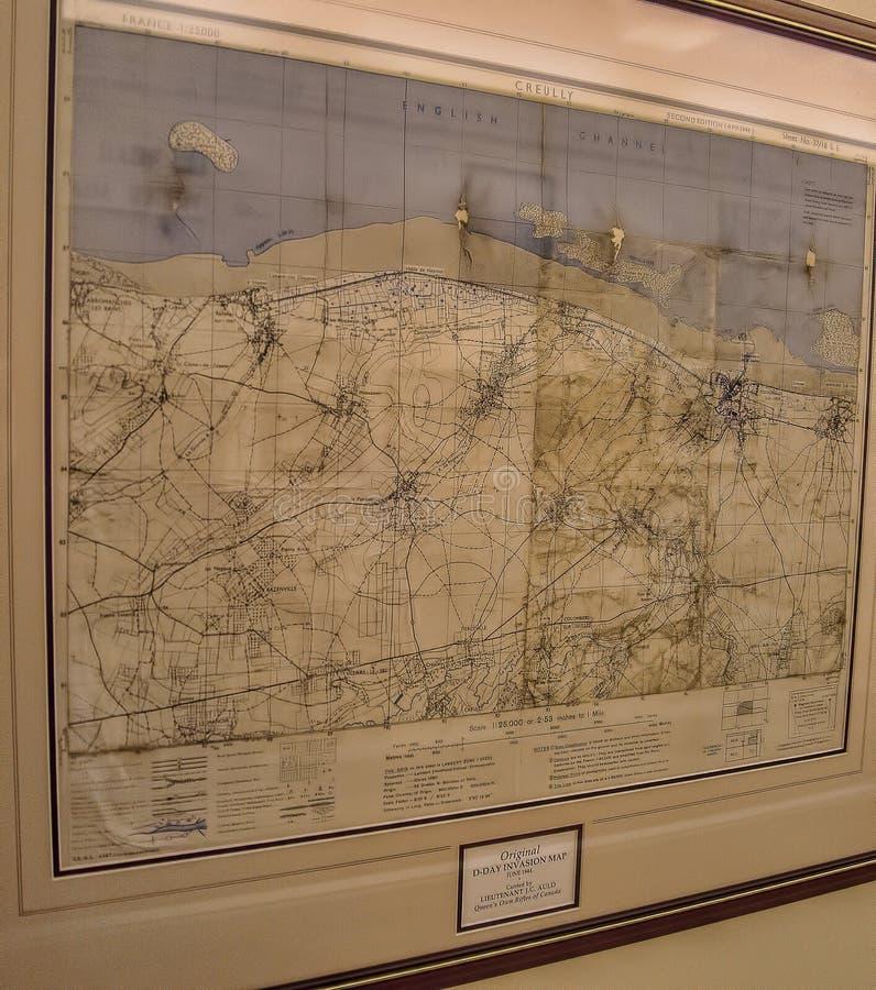 Mapa original del día D en la casa Loma en Toronto, Canadá imagenes de archivo