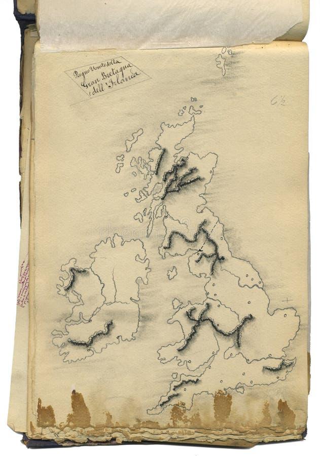 Mapa original do vintage de Grâ Bretanha foto de stock royalty free