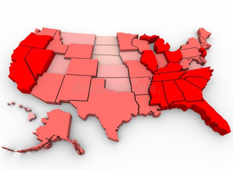 mapa oszacowywa jednoczącego stan bezrobocie ilustracja wektor