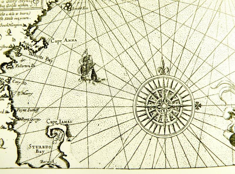 Mapa ou carta antiga do mar imagens de stock
