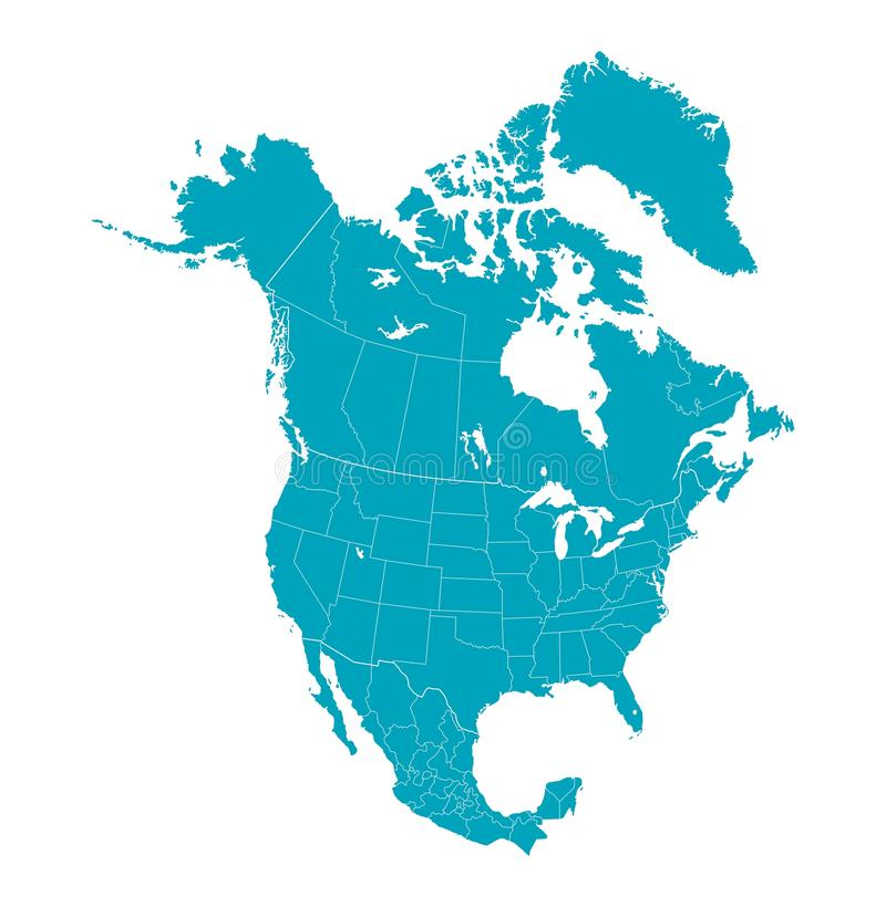 Mapa Północna Ameryka z oddzielnymi krajami ilustracja wektor