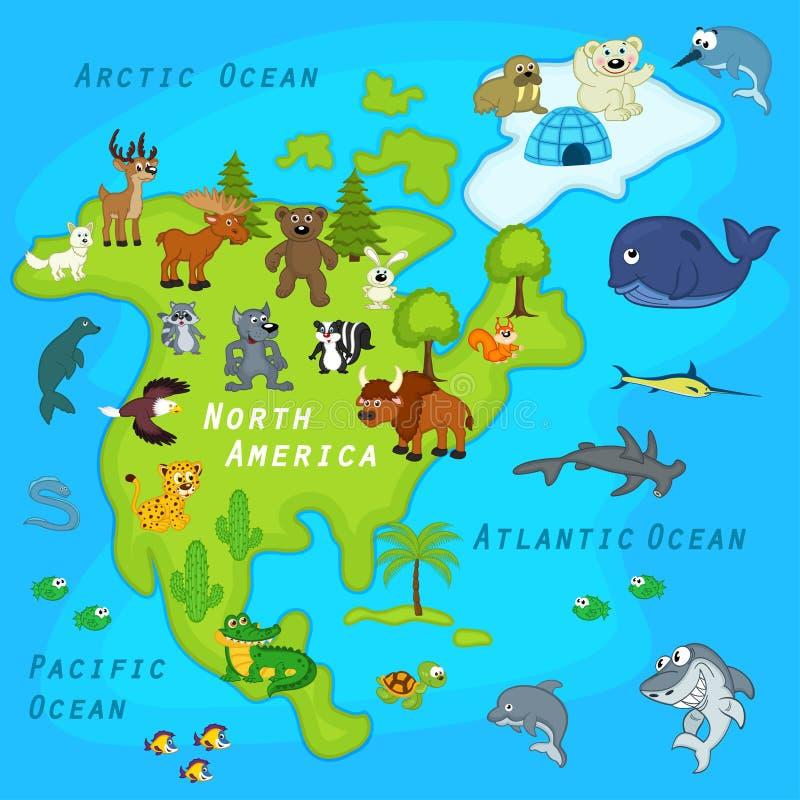 Mapa Północna Ameryka z zwierzętami ilustracja wektor
