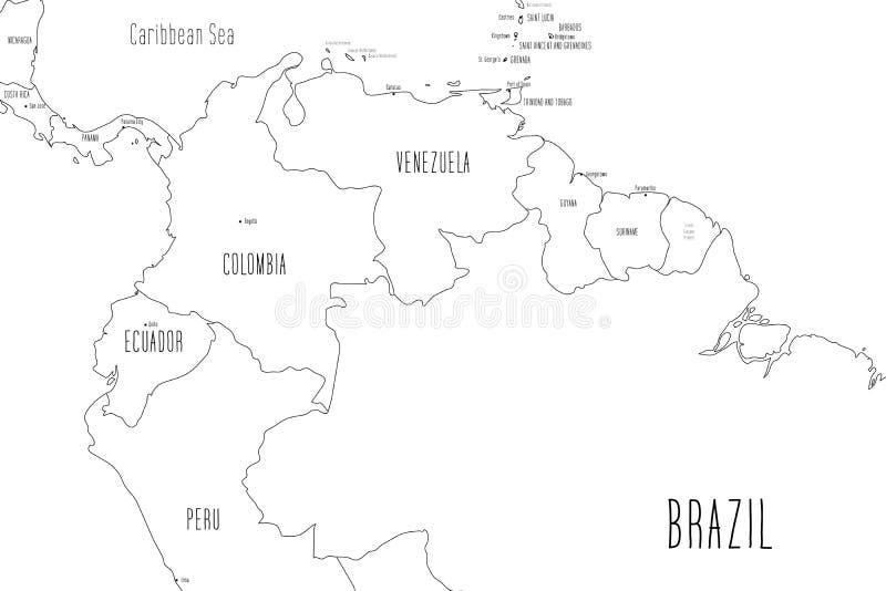 Mapa północnej części Ameryki Południowej Styl naręcznego pudla Ilustracja wektorowa royalty ilustracja