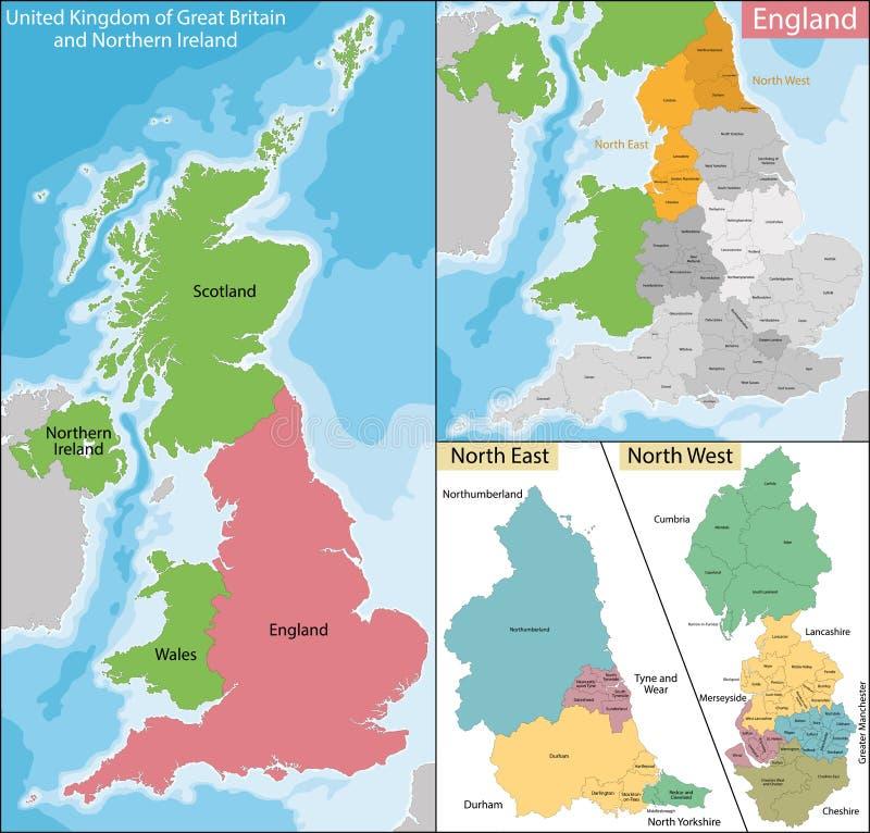 Mapa Północno-wschodni i Zachodni Anglia royalty ilustracja