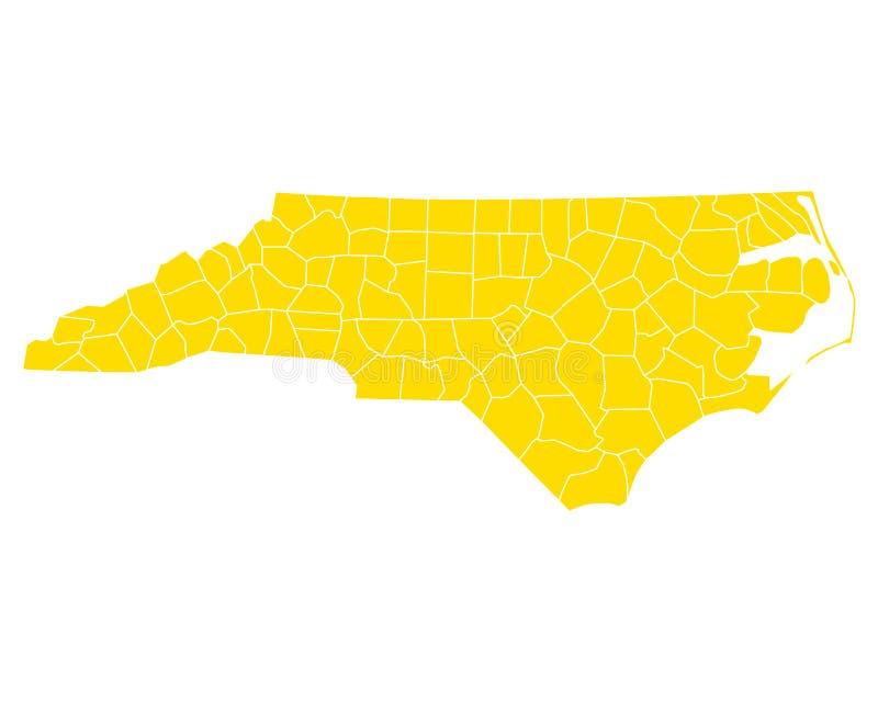 Mapa północny Carolina ilustracji