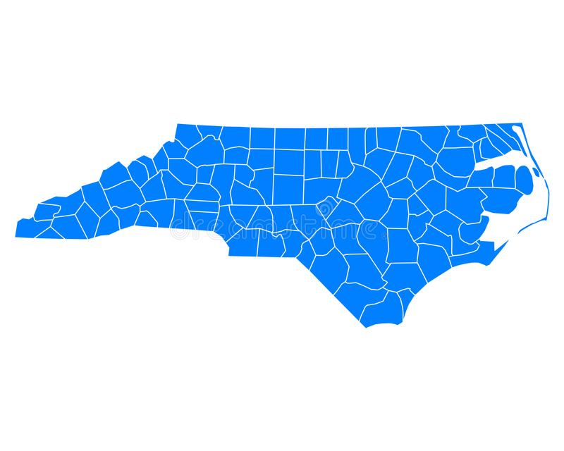 Mapa północny Carolina royalty ilustracja