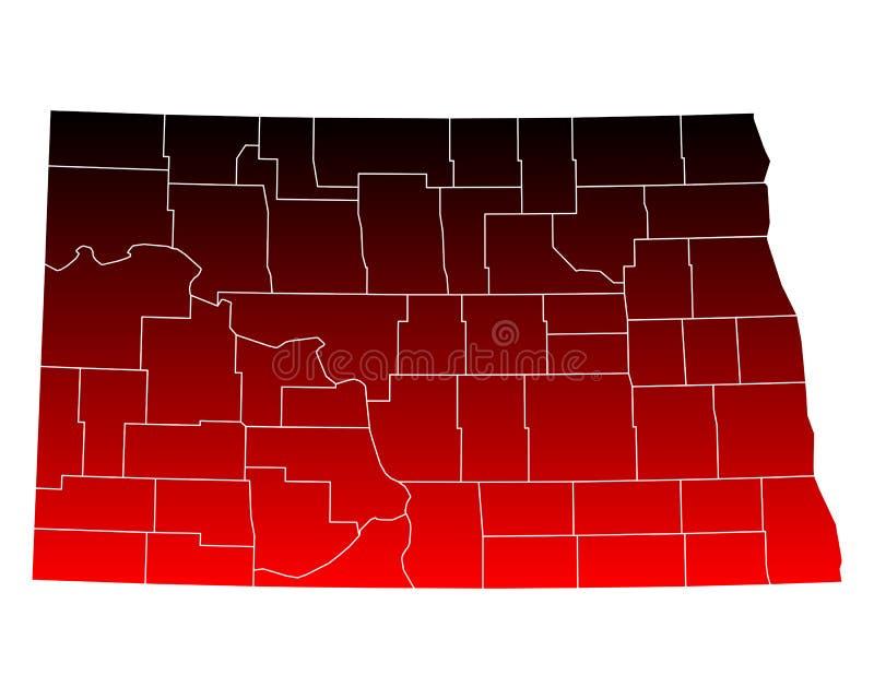 Mapa Północny Dakota ilustracja wektor