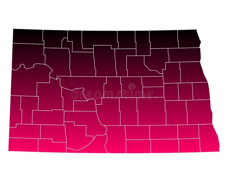 Mapa Północny Dakota royalty ilustracja