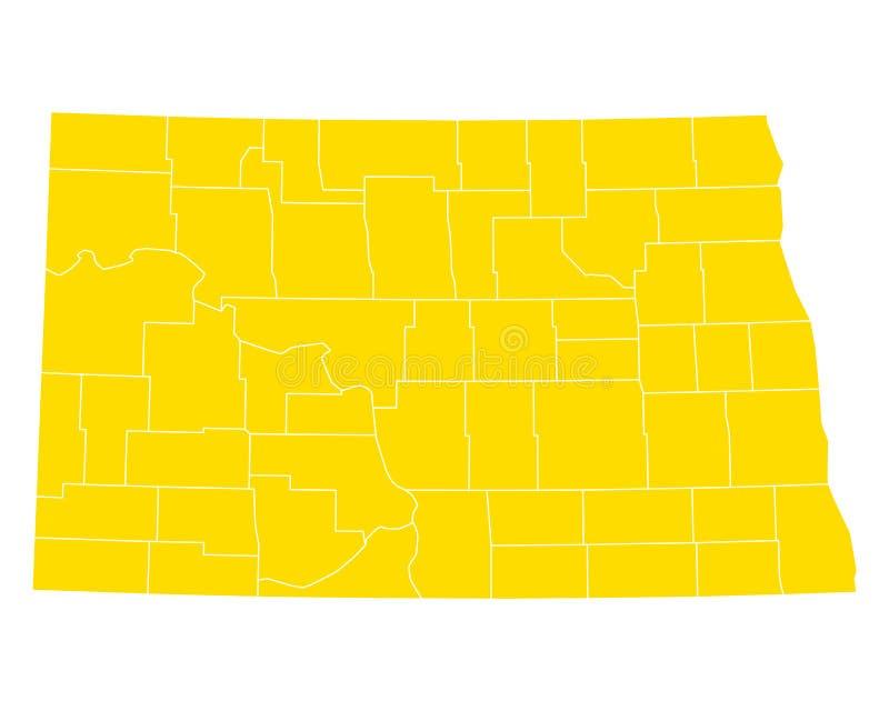 Mapa Północny Dakota ilustracji