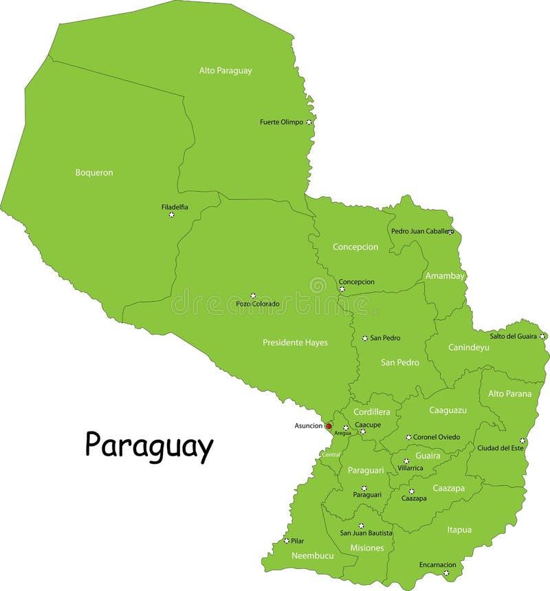 Mapa Paraguay royalty ilustracja