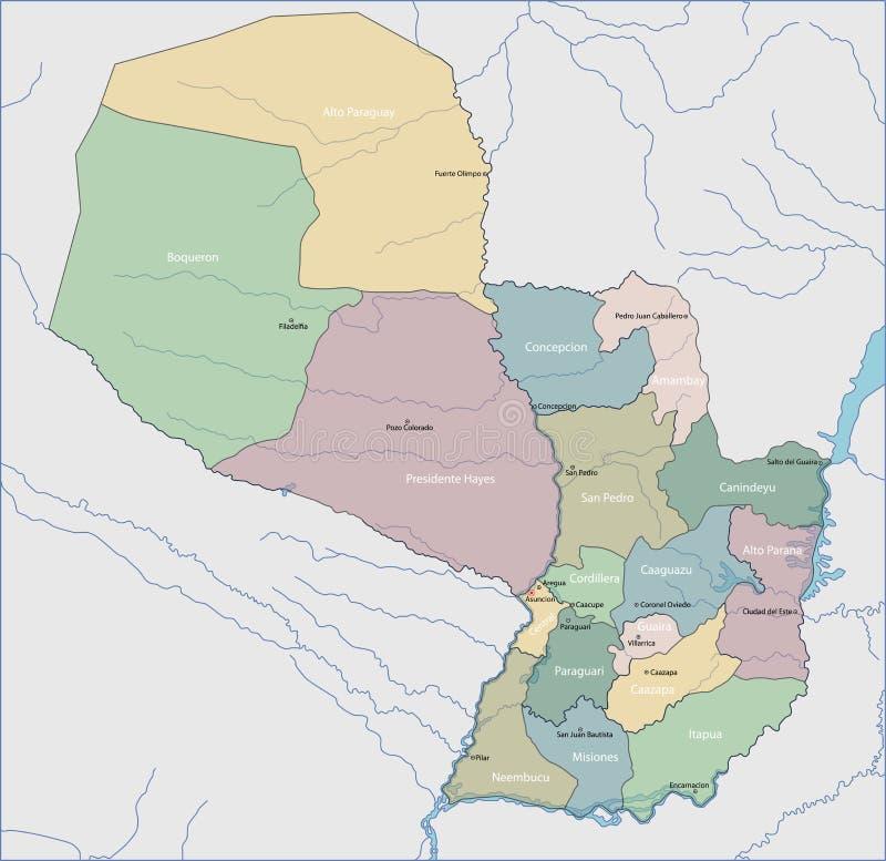 mapa Paragwaju ilustracja wektor