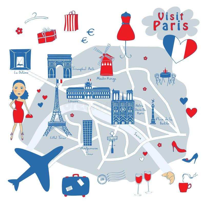 Mapa Paryż ilustracji