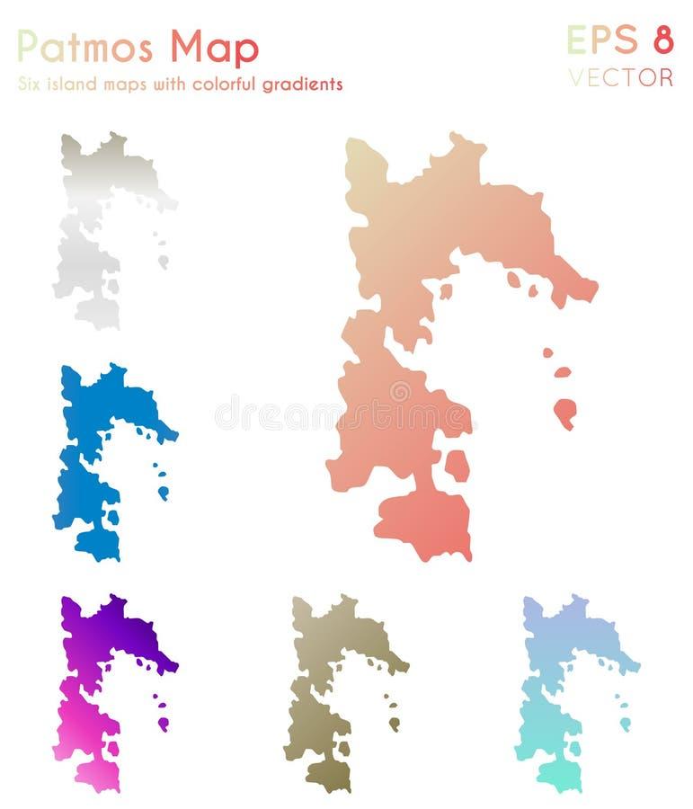 Mapa Patmos z pi?knymi gradientami ilustracja wektor