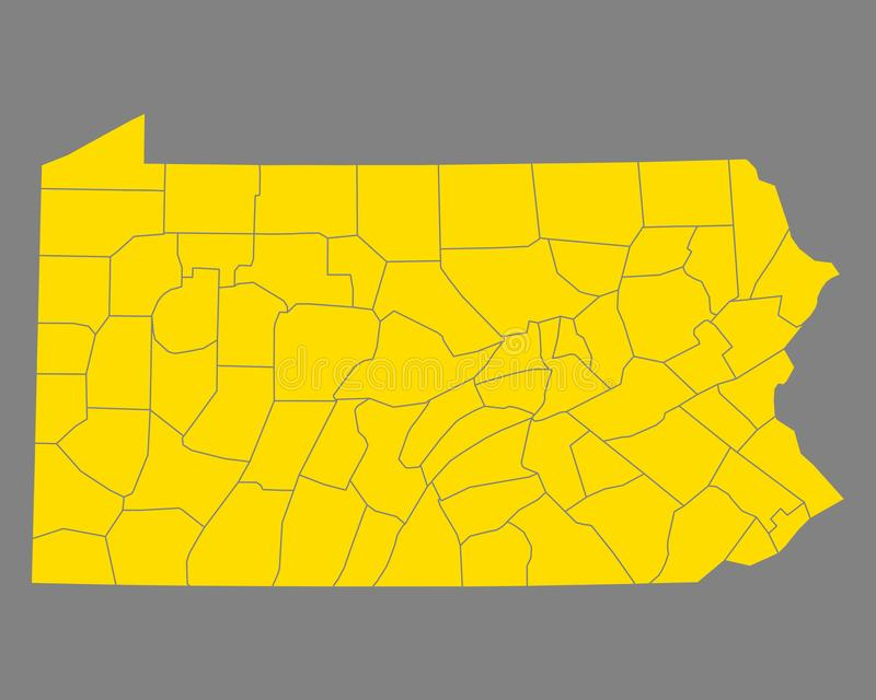 Mapa Pennsylwania ilustracji