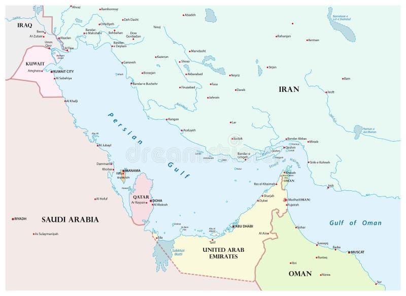 Mapa Perska zatoka i swój okoliczni kraje ilustracja wektor