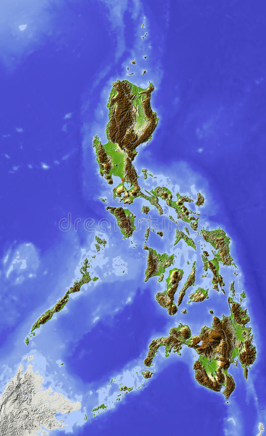 mapa Philippines reliefowi ilustracja wektor